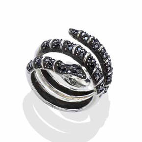 Black Diamond Men's Silver Snake Ring