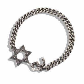 Black Diamond & Silver Star of David Men's Bracelet