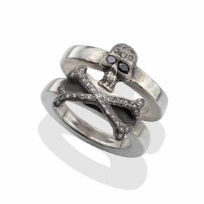 Black & White Diamond Two Piece Silver Skull & Cross Bones Ring