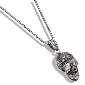 Box Chain with Diamond & Silver Skull Pendant