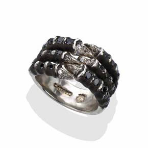 Men's Black & White Diamond Gothic Claw Ring