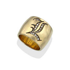 Men's Diamond & 18kt Gold Custom Signet Monogram Ring