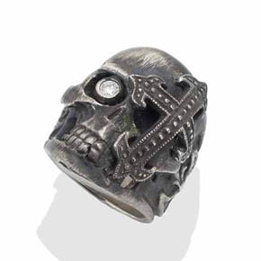 Men's Diamond & Silver Cross Skull Ring