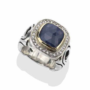 Men's Large Diamond & Sapphire Biker Ring