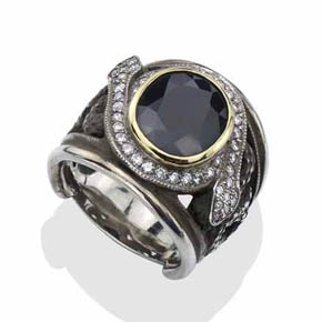 Men's Large Sapphire Rock N' Roll Ring