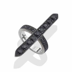 Men's Silver & Black Sapphire Cross Ring