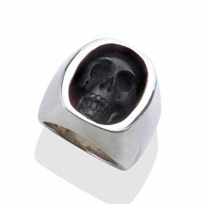 Silver & Jet Men's Skull Signet Ring