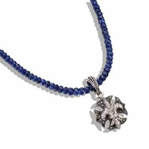 Sapphire Necklace with Diamond Fleur-De-Lis & Maltese Iron Cross Pendant