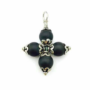 Silver & 8mm Black Agate Pendant