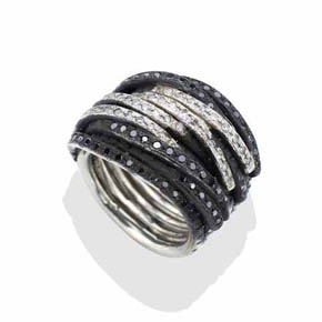 Silver Black & White Men's Diamond Coil Ring
