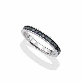 Silver & Blue Diamond Men's Infinity Band