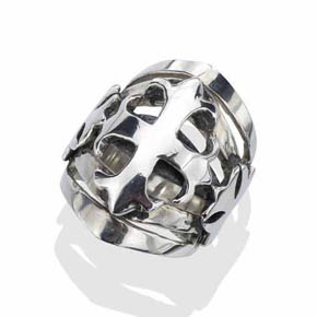 Silver Cross Biker Ring