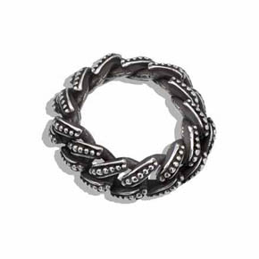 Silver Handmade Bead Work on Cuban Ring