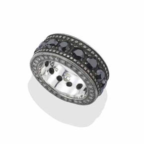 Silver Men's Black Diamond Eternity Band