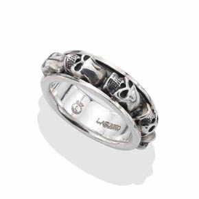 Silver Repeating Skull Ring