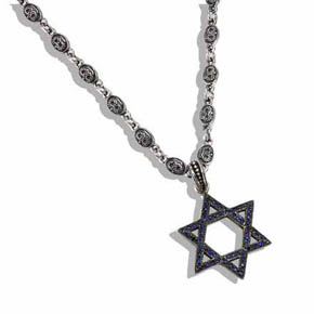 Silver & Sapphire Star of David on Double Sided Crown Chain
