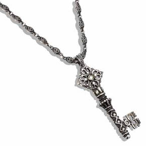 Silver Skeleton Key with Diamonds on Double Sided Crown Chain