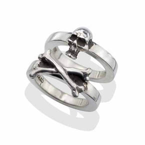 Silver Skull & Cross Bones Two Piece Ring