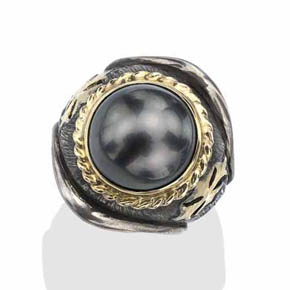 South Sea Pearl Men's Maltese Iron Cross Ring