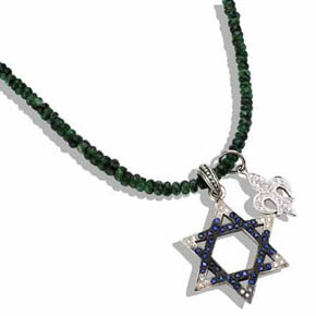 Star of David & Fleur-De-Lis on Emerald Necklace