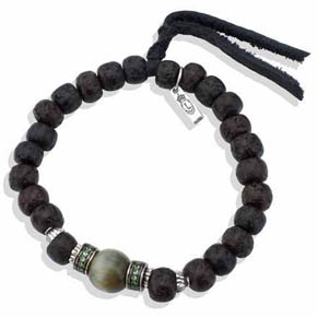Tibetan Wood Bead, Tzavorite & Tiger Eye Bracelet