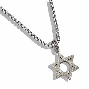 White Diamond & Silver Star of David on Silver Box Chain