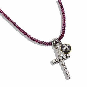 White Diamond Skull Cross & Diamond Cross Charms on Ruby Necklace