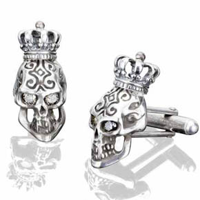 Silver King skull Cufflinks With White Diamond Eyes