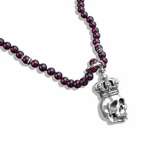 Garnet Bead & Silver Necklace With Silver King Skull Pendant