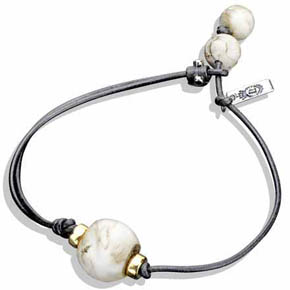 Limited Edition Leather, Silver & 14K Gold Conch Shell Bracelet