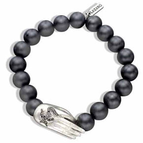 Silver Buddha Hand With Black Diamonds & Onyx Bead Meditation Bracelet