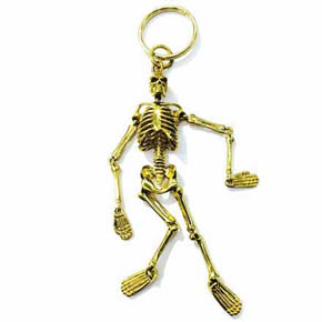 Yellow Brass Jointed Skeleton Keychain