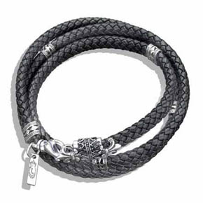 Black Braided Leather & Silver Men's Wrap Bracelet