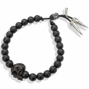 Silver Rondelle On Black Onyx & Skull Leather Bracelet