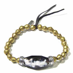 Natural Faceted Agate, Silver & Brass Bead Men's Bracelet