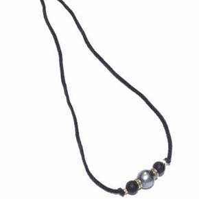 Onyx & Tahitian Pearl on Deerskin Leather Men's Necklace