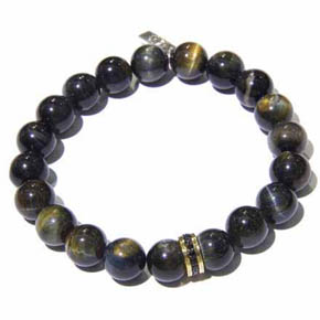 Sapphire, Blue Tiger's Eye & Gold Men's Bracelet