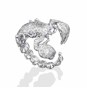 3 Cts White Diamonds & 14K White Gold Scorpion Ring