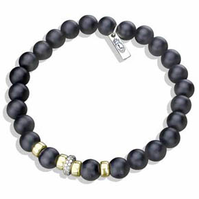 Diamond, Gold & Black Onyx Bead Bracelet