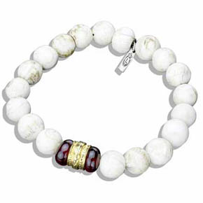 Garnet, Gold & Conch Shell Bead Bracelet