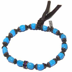 Silver, Ruby & Turquoise Deerskin Leather Men's Bracelet
