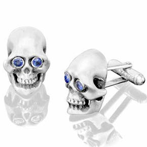 Silver Skull Cufflinks With Sapphire Eyes
