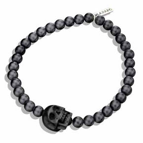Small Black Onyx & Black Jet Skull Men's Bracelet