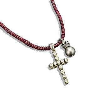 Double-sided Silver Skull Cross & Pearl Crown On Faceted Ruby Bead Necklace