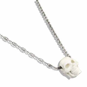 Hand Carved Moose Antler Skull Pendant On Multi-pattern Silver Necklace