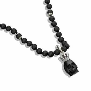 Jet King Skull pendant With Silver Crown & Lava Bead Necklace