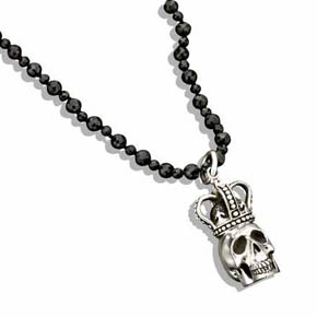 Silver Skull King With Crown Pendant & Faceted Bead Necklace