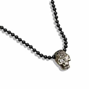 Silver Skull With Black & White Diamonds On Onyx Bead Necklace