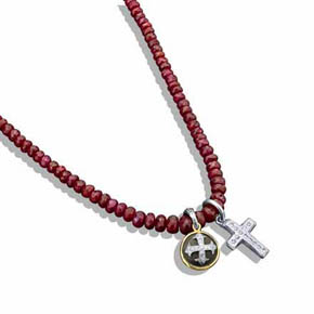 Two Medieval Crosses On Faceted Ruby Bead Necklace