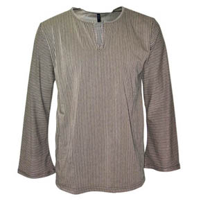 Lazaro Taupe & Black Stripe Flared Sleeve Shirt